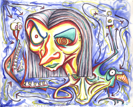 The Faces of Sickness and Health, water colour on paper 2002
