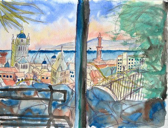 View from the Park Near Nietzsche's House, watercolour on paper 2002
