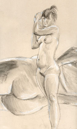 Standing Nude, chalk and pencil on paper 1999
