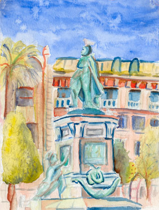 Statue in Nice, watercolour on paper 2000
