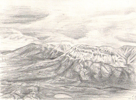 The Winter Hills, pencil drawing 1998